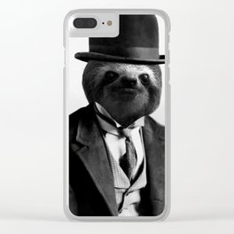 Sloth with Bowl Hat Clear iPhone Case