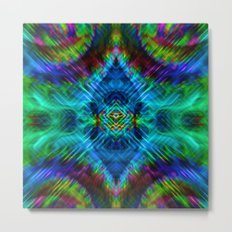 psychedelic blue green Metal Print