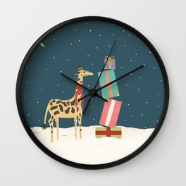 Christmas Giraffe Wall Clock