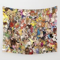 cartoon Wall Tapestries featuring Cartoon Collage by Myles Hunt