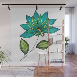 Blue Floral Pattern Wall Mural