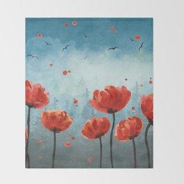 Poppy flowers - Misty Forest Throw Blanket