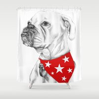 boxer Shower Curtains featuring Boxer by Natasha Maiklem