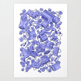 Retro Gamer - Blue Art Print