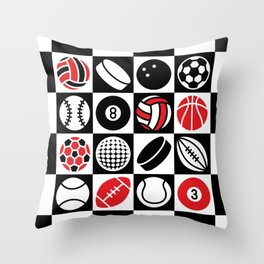 Sport Ball Checkerboard Throw Pillow