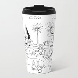 Funny Figurative Line Drawing of Alys Beach Community on 30a Travel Mug