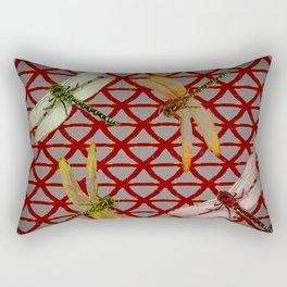 DRAGONFLIES  RED-GREY ORIENTAL SCREEN ART Rectangular Pillow