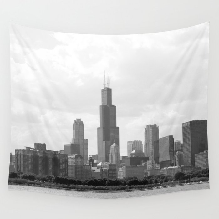 Chicago Skyline Black And White Wall Tapestry