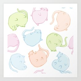 Cat Blobs Cats Art Print