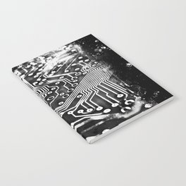 platine board conductor tracks splatter watercolor black white Notebook