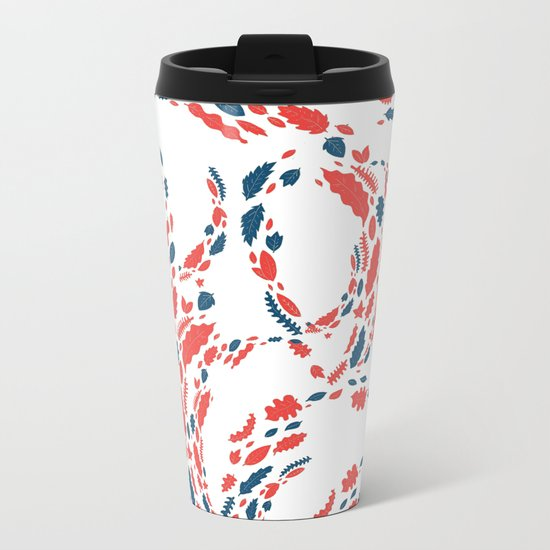 red and blue leaves Metal Travel Mug