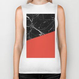 Black Marble with Cherry Tomato Color Biker Tank