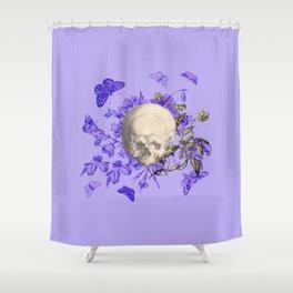 Purple Halloween Floral Skull Shower Curtain