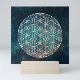 Mandala Flower of Life Rose Gold Space Stars Mini Art Print