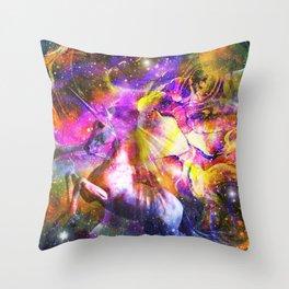 space universe unicorn Throw Pillow