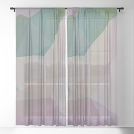 Spring Colours Geometric - Abstract Art by Fluid Nature Sheer Curtain