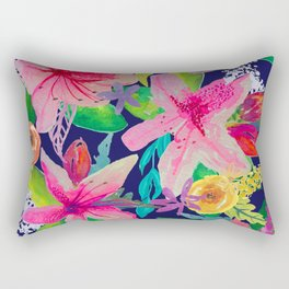 Neon Azeleas // Navy Rectangular Pillow