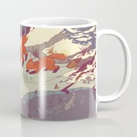 white Mugs featuring Fisher Fox by Teagan White