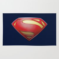 superman Area & Throw Rugs featuring Superman by DeBUM