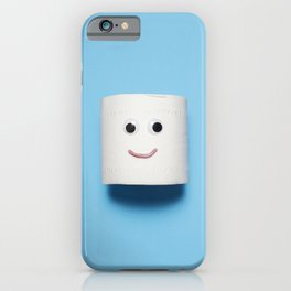 Happy smiling toilet paper on blue iPhone Case