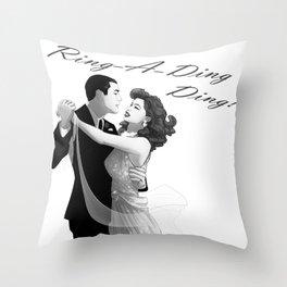 Lefty & Bama Ring-a-Ding Ding Noir Throw Pillow