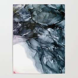 Dark Payne's Grey Flowing Abstract Painting Poster