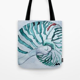 Turquoise Nautilus Shell painting watercolor Tote Bag