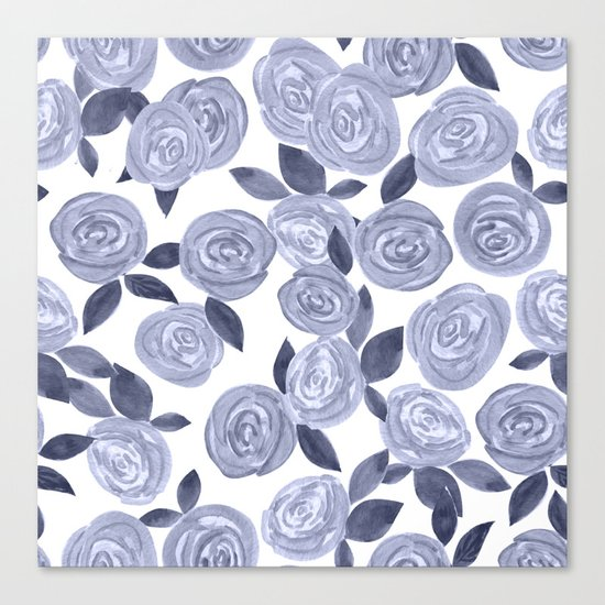 Blue watercolor roses. r2 Canvas Print