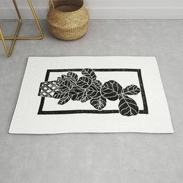 Fiddle Leaf Fig Block Print Rug