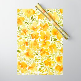 Watercolor California poppies (Quad set, #1) Wrapping Paper