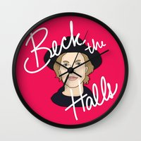 cassia beck Wall Clocks featuring Beck the Halls by Chelsea Herrick