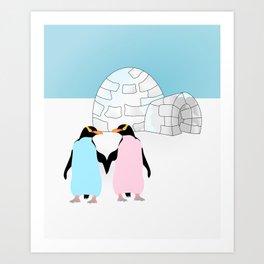 Penguins and Igloo Art Print