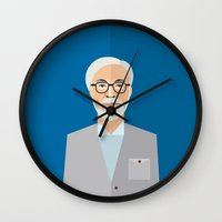 hayao miyazaki Wall Clocks featuring Hayao Miyazaki by monscribbles