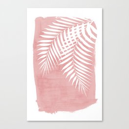 Pink Paint Stroke of Palm Leaves Canvas Print