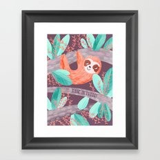 Hang in There Sloth Framed Art Print