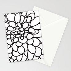 Black and White Modern Dahlia FLower Stationery Cards