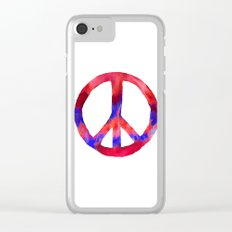 Patriotic Peace Sign Tie Dye Watercolor Clear iPhone Case