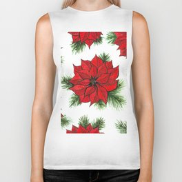Poinsettia and fir branches pattern Biker Tank