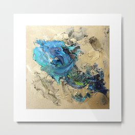Abstract Blue + Gold Metal Print