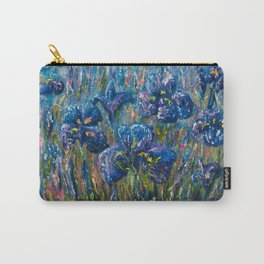 Countryside Irises Oil painting with palette knife Carry-All Pouch