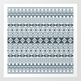 Aztec Stylized Pattern Gray-Blues & White Art Print