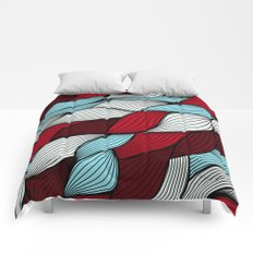 Red blue knit Comforters
