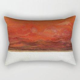 Northern Lights (red) Original Encaustic Painting Rectangular Pillow