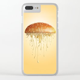 Melted cheese falling from sesame seed burger bun Clear iPhone Case