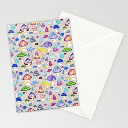 Watercolor Mushroom Pattern on Gray Stationery Cards