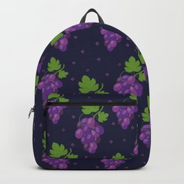 Grape pattern on a dark background Backpack