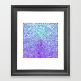 Mandala Flower in Light Blue and Purple Framed Art Print