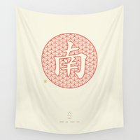 nan lawson Wall Tapestries featuring Chinese Character South / Nan by Thoth Adan