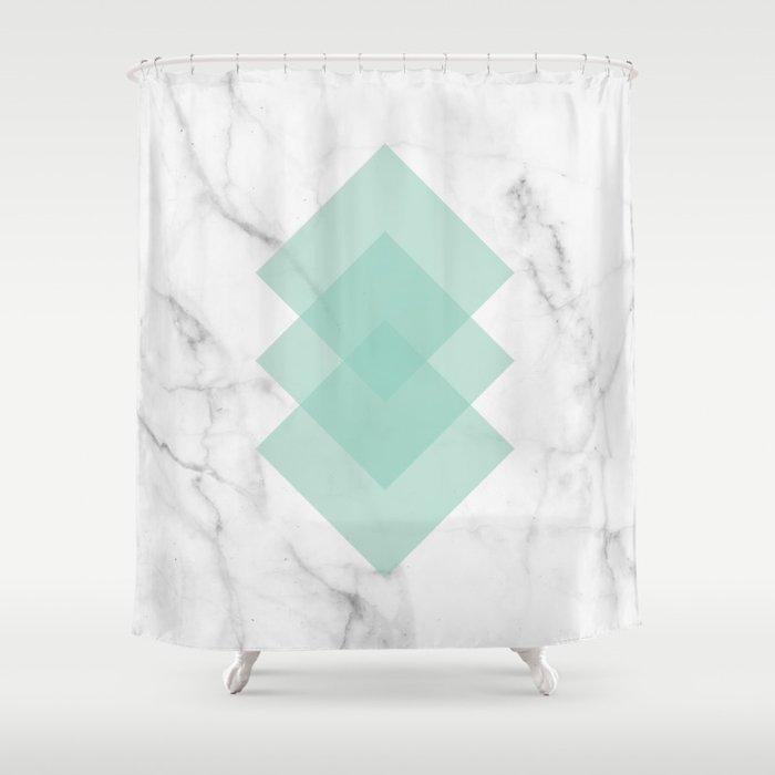 Marble Scandinavian Design Geometric Squares Duschvorhang