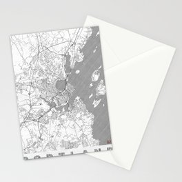 Portland Maine Map Line Stationery Cards